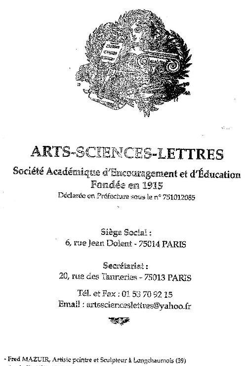 2013-09-04 : Médaille d'argent Arts - Sciences - Lettres 2013-06-08
